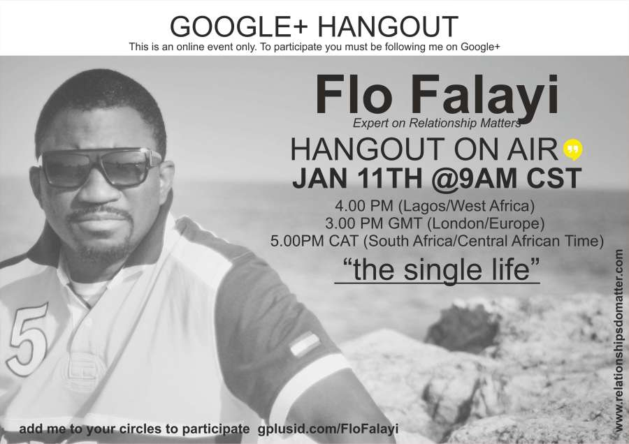 THE SINGLE LIFE - Hangout on Air (Google+ & YouTube) - January 11th, 2014